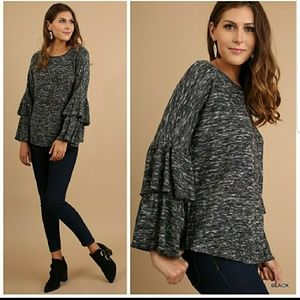 Tops - Double bell sleeve sweater top